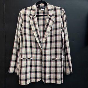 vintage plaid black pink oversized blazer